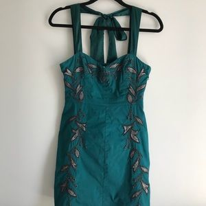 Free People Embroidered Dress with Satin Strap Tie